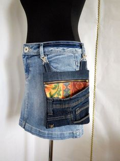 Denim crossbody bag waist bag of distressed jeans. Universal handbag from recycled jeans. Convenient bag purse for shopping and leisure. Handbag can be used at the waist, fastened it to the jeans or skirt. Included with the bag is an adjustable sho Denim Handbags, Purses And Handbags, Unique Fashion, Womens Fashion, Fashion Trends, Fashion Bags, Denim Slides, Diy Jewelry Unique, Plus Size Belts