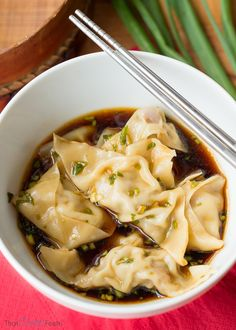 Steamed Pork Dumplings with a Scallion Dipping Sauce