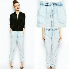 NWOT Acid Wash Jogger Acid wash DENIM LOOK jogger. Very lightweight, 100% Lyocell. Non-functional drawing at waist. Front and back pockets. New Look Pants Track Pants & Joggers