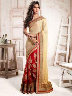 Cream-and-red-net-saree-with-zari-embroidery-and-kundan-work - sarees.com