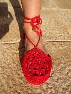 Otra foto de los zapatos de verano de crochet.