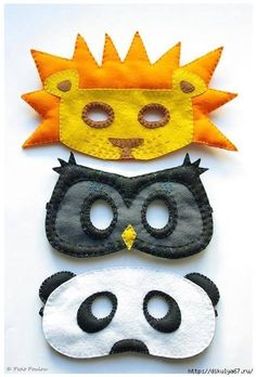 Animal felt masks (lion, owl or penguin, panda bear)
