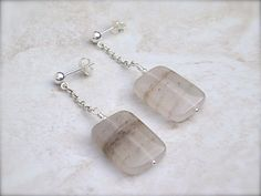 #Quartz earrings with sterling #silver and light brown stones. Shop bijouxbead at #DEAF13!
