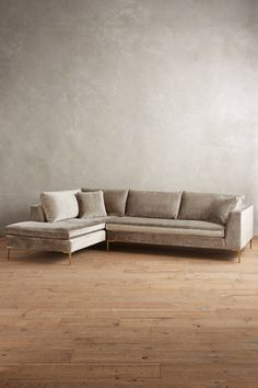 Slub Velvet Edlyn Left Arm Sectional - anthropologie.com