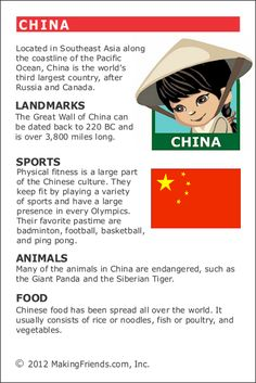 MakingFriends Facts about China Printable Thinking Day fact card for our passports. Perfect if you chose China for your Girl Scout Thinking Day or International Night celebration. Around The World Theme, Kids Around The World, Geography Lessons, World Geography, Learning Activities, Kids Learning, Activities For Kids, Facts For Kids, Fun Facts