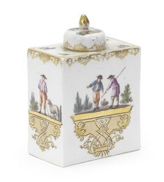 A Meissen rectangular tea canister and cover, mid 18th century -  Each side painted with scenes of peasants engaged in various pursuits on gilt scrollwork pedestals, a gilt scrollwork border to the egde, scattered flowers to the shoulder, the cover similarly decorated with landscape vignettes of farm animals, faint traces of crossed swords mark in blue, gilt 5. to both