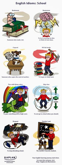 School idioms in English are popular with students and teachers alike. Have a look at our fun school idioms illustration! English Fun, English Study, English Words, English Lessons, English Grammar, Teaching English, Learn English, French Lessons, Spanish Lessons