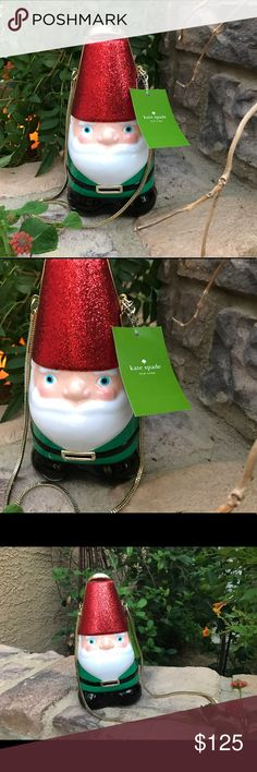Kate spade gnome clutch Cute Travelocity's gnome glittery red hat gold tone latch closure at top of his hat💋beautiful thick gold chain for shoulder strap. He is so cute for Holidays. New with TAGS and Dust Bag kate spade Bags Clutches & Wristlets