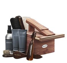 Looking to make my own custom shoe kit. This might be a good reference item.   As essential in a gentleman's wardrobe as good shoes themselves.  The Kit contains our exclusive lanolin-based shoe cream in black and cordovan, two brush applicators, leather balm, two shine mitts, shoehorn and horsehair brush - all housed in a red cedar box with built-in footstand.  Leather Balm cleans shoes before polishing; Shoe Creams moisturize and protect