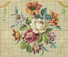 This Pin was discovered by mel Xmas Cross Stitch, Cross Stitch Borders, Cross Stitch Rose, Cross Stitch Flowers, Cross Stitch Charts, Cross Stitching, Cross Stitch Patterns, Bead Embroidery Patterns, Vintage Embroidery