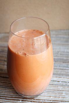 "Spice Sweet Potato Juice: 1 sweet potato, 2"" piece of ginger, 1 c. almond milk, 1/2 tsp. vanilla, 2 tsp. ground cinnamon, 1 Tbsp. Chia seeds, natural sweetener (optional)"