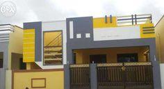 Coimbatore Single Floor House Design, Modern Small House Design, Duplex House Design, Front Gate Design, House Front Design, Door Design, Outside House Paint Colors, Exterior House Colors, Front Elevation Designs