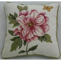 Williamsburg Needlepoint Wild Rose Decorative Pillow