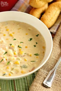 Creamy Shrimp Corn Soup - A creamy Cajun-flavored soup filled with shrimp, corn, and potatoes and ready in about 30 minutes. It's a great soup for company too! Shrimp And Corn Recipe, Shrimp And Corn Soup, Shrimp Corn Chowder, Corn Chowder Soup, Chicken Corn Soup, Bisque Soup, Seafood Bisque, Potato Soup, Corn Soup Recipes