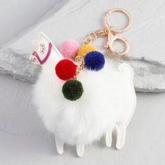 White Faux Fur Llama Keychain
