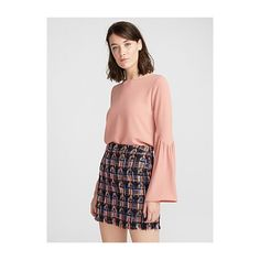 Vero Moda Bell-sleeve crepe blouse ($27) ❤ liked on Polyvore featuring tops, blouses, flared sleeve top, flared top, vero moda tops, crepe top and bell sleeve blouse