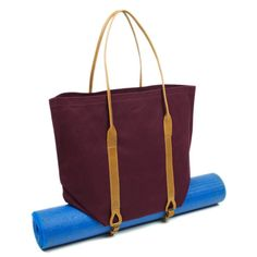 Burgundy Canvas Yoga Mat Carrier Tote. The perfect size to go from yoga class to running errands.