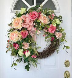 Mothers Day Wreath, Valentine Day Wreaths, Easter Wreaths, Wreaths For Front Door, Door Wreaths, Grapevine Wreath, Country Wreaths, Meadow Flowers, Hydrangea Wreath