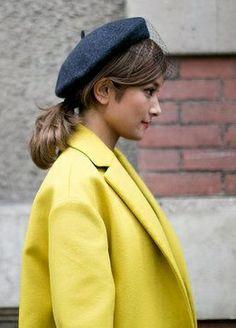 yellow coat & gray beret