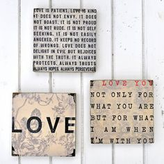 'Love', 'When I'm With You', 'Love Is Patient' Word Art