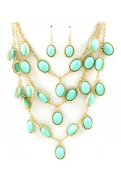 Dreamy Turquoise  Bib Necklace  Earring Set - Polished Turquoise Cabochons cascade