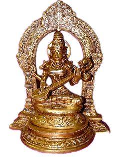 Traditional Goddess of Knowledge Devi Saraswati Playing Veena Hindu Brass Statue | eBay $169.00