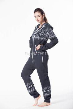 ==> [Free Shipping] Buy Best jumpsuit Printed onesie hoodie fleece cotton zip nordic way romper cosy playsuit women clothes Online with LOWEST Price | 32243833352