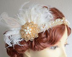 Diadema de plumas de novia blanco de orden de encargo con