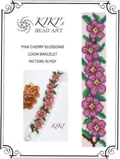 Pink cherry blossoms LOOM bracelet PDF pattern instant download