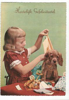 vintage postcard girl with dog