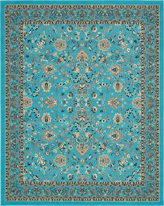 Turquoise 8' x 10' Kashan Design Rug | Area Rugs | eSaleRugs