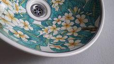 Bathroom, porcelain wash basin.Lelavadee flower 100% HAND PAINTED