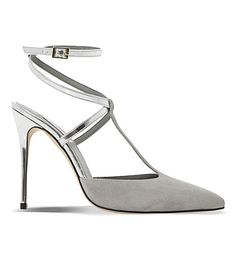 DUNE Chloey Suede And Metallic-Leather Court Shoes. #dune #shoes #heels