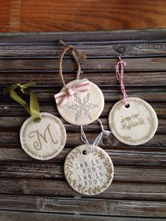 DIY rustic Christmas ornaments ! Hand made and easy! Inspired from http://www.abeautifulmess.com/2012/12/make-your-own-clay-ornaments.html