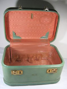 Vintage Train Case Suitcase Teal w/ Peach Lining  by LavenderGardenCottag