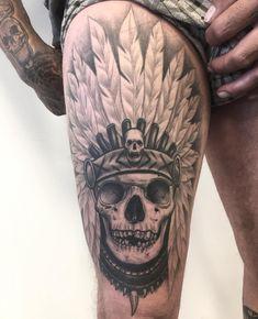 Sweet Tattoos, Boy Tattoos, Badass Tattoos, Skull Tattoos, Tattoos For Guys, Lion Tattoo On Thigh, Bicep Tattoo, Piercing Tattoo, Tattoo Sketches