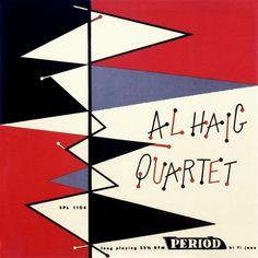 Al Haig Quartet - Design by Alvin Lustig Lp Cover, Vinyl Cover, Cover Art, Vintage Records, Rare Records, Vintage Music, Jazz Art, Album Cover Design, Music Album Covers