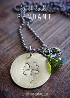 Easy Jewelry DIY project: Make this Bit of Luck Hand-Stamped Necklace for St. Patrick's Day. Use a repeated heart stamp to make the shamrock!