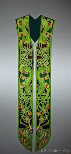 ©Kristen Gilje Jan's Celtic Stole, hand painted silk, 2012