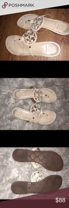 Tory Burch Miller Sandals Creme Miller sandal!! Some wear but still look super cute on!! dust bag included! Tory Burch Shoes Sandals