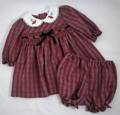 b.t. kids 2 pc Smocked Dress and Bloomers Red Gray Plaid Rossettes Lace 6-9 mo #BTKids #Smocked #CasualPartyChristmasHolidayChurchDressy