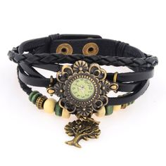 Vintage Genuine Leather Bracelet Watch with Tree Pendant Black