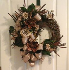 Wreath, Magnolia Grapevine, SHIPPING INCLUDED, Elegant Designer Brown Wall Arrangement, Door Wreath, Living Room Silk Floral Wreath by GiftsByWhatABeautifu on Etsy