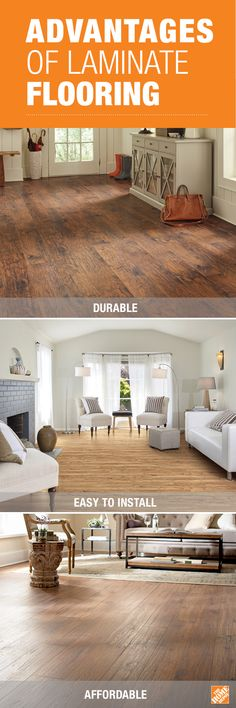 Today's laminate flooring options are impeccably durable, easy to install and affordable. You can find the right laminate flooring for every room in your house with The Home Depot's variety of colors, textures and finishes. Click through to choose the right flooring for each space in your home to transform the entire look. (Shown: TrafficMASTER Handscraped Saratoga Hickory, TrafficMASTER Lakeshore Pecan, and Home Decorators Collection Distressed Brown Hickory)