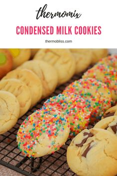 Our super easy Thermomix Condensed Milk Cookies are the perfect biscuit jar filler! Made from just 4 basic ingredients - these yummy cookies are always a winner! Condensed Milk Biscuits, Condensed Milk Cookies, Condensed Milk Recipes, Biscuit Cookies, Biscuit Recipe, Yummy Cookies, Cookies Nyc, Making Cookies, Toffee Cookies