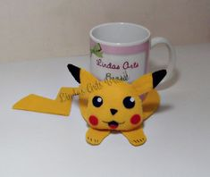 Cute Coasters, Felt Coasters, Felt Crafts Patterns, Mug Rug Patterns, Pokemon Craft, Diy And Crafts, Arts And Crafts, Pikachu, Mug Rugs
