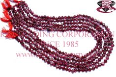 Garnet Faceted Cushion (Quality AA) Shape: Cushion Faceted Length: 36 cm Weight Approx: 7 to 9 Grms. Size Approx: 4.5 to 5.5 mm Price $8.00 Each Strand