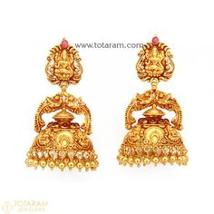 Temple Jewellery - 22K Gold 'Lakshmi' Jhumkas - 22K Gold Dangle Earrings - 235-GJH1519 - Buy this Latest Indian Gold Jewelry Design in 22.000 Grams for a low price of  $1,191.99 Indian Gold Jewellery Design, Gold Temple Jewellery, 14k Gold Jewelry, Coral Jewelry, India Jewelry, Bridal Jewelry, Jewelry Design, Jewelry Shop, Gold Drop Earrings