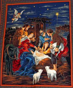 Oh Holy Night Nativity Wall Quilting Fabric Christmas Panel Christmas Manger, Christmas Baby, Christmas Fabric Panels, Fabric Panel Quilts, Quilting Fabric, Hanging Fabric, Christ The King, Meaning Of Christmas, Quilted Wall Hangings