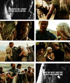 """I protected you. I fought for you. Killed for you."" Kissed me, she thought, betrayed me. ""I went down into the sewers like a rat. For you. Daenerys. I have loved you."" And there it was. Three treasons will you know. Once for blood and once for gold and once for love. ""The gods do nothing without a purpose, they say. You did not die in battle, so it must be they still have some use for you. But I don't. I will not have you near me. You are banished, ser."" #got #asoiaf"